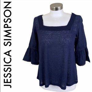 JESSICA SIMPSON NWT BLUE BOHO TOP SIZE XLARGE